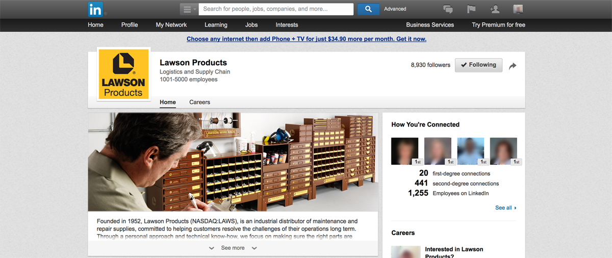 Lawson Products LinkedIn Profile Design