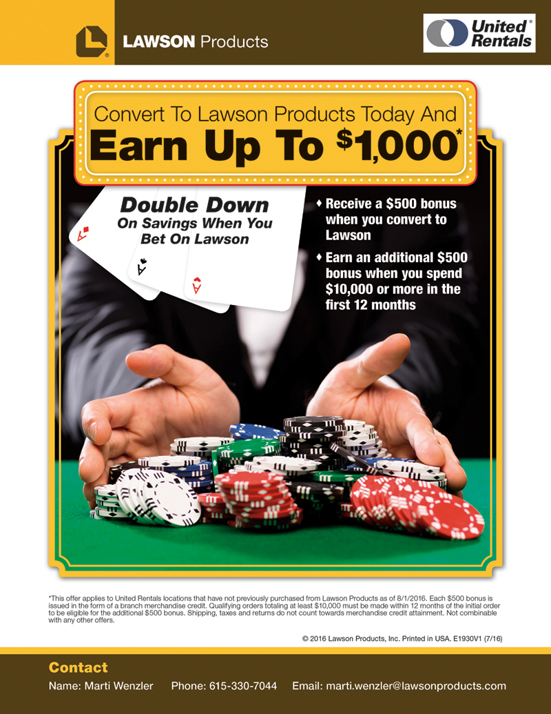 Poker Themed United Rentals Flyer