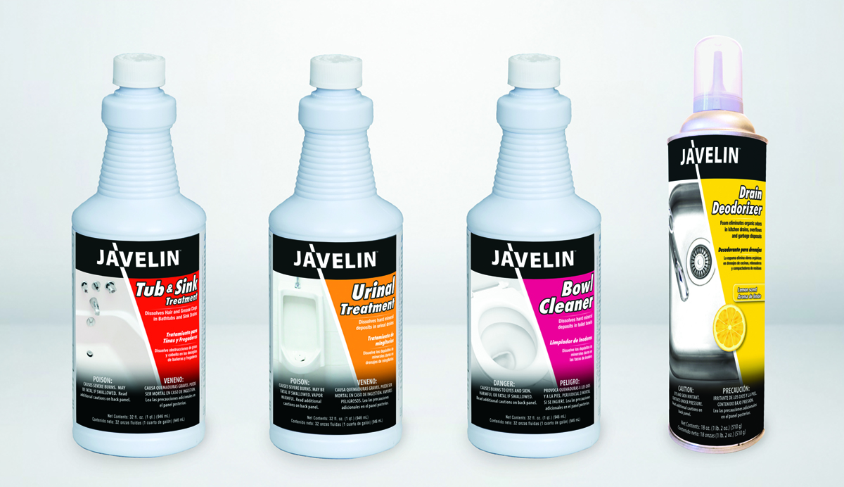 Javelin Drain & Surface Cleaning Products Campaign Label Design
