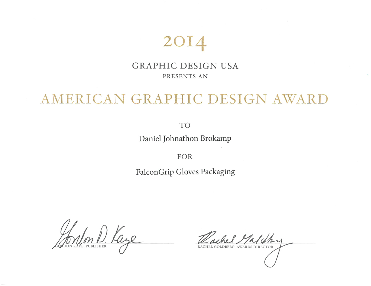 2014 Graphic Design USA Award for FalconGrip Gloves Packaging