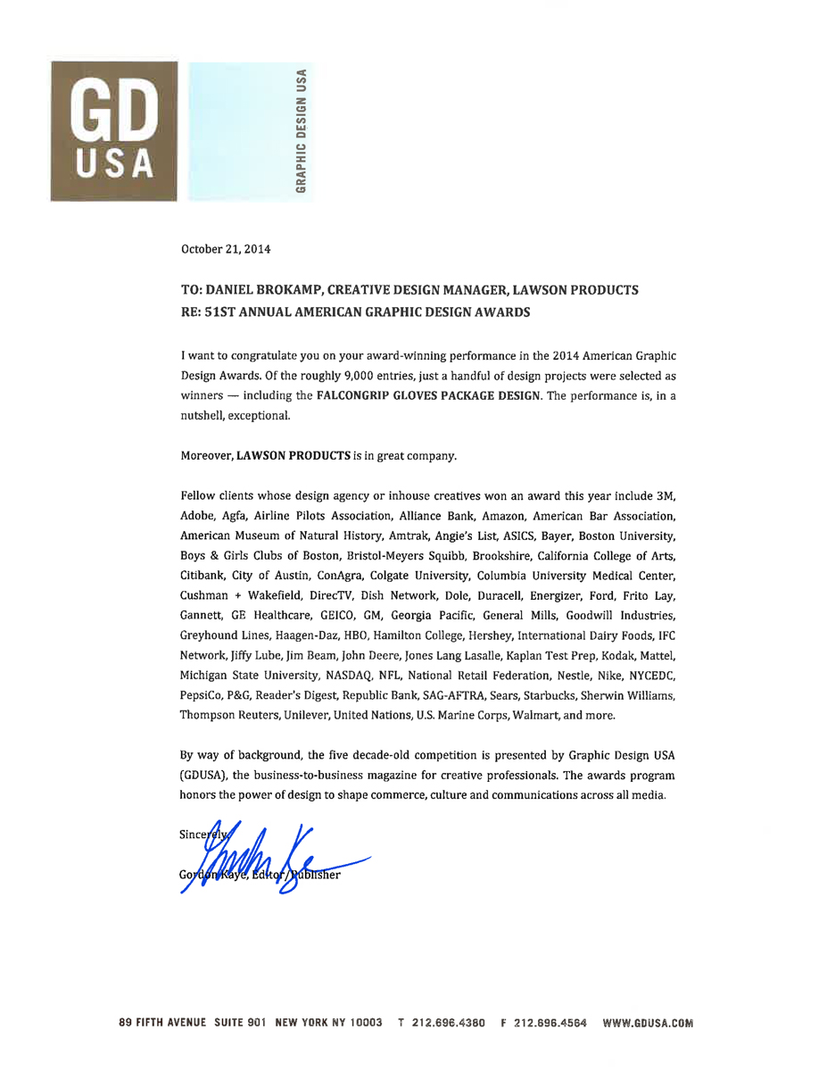 2014 Graphic Design USA Award Letter for FalconGrip Gloves Packaging