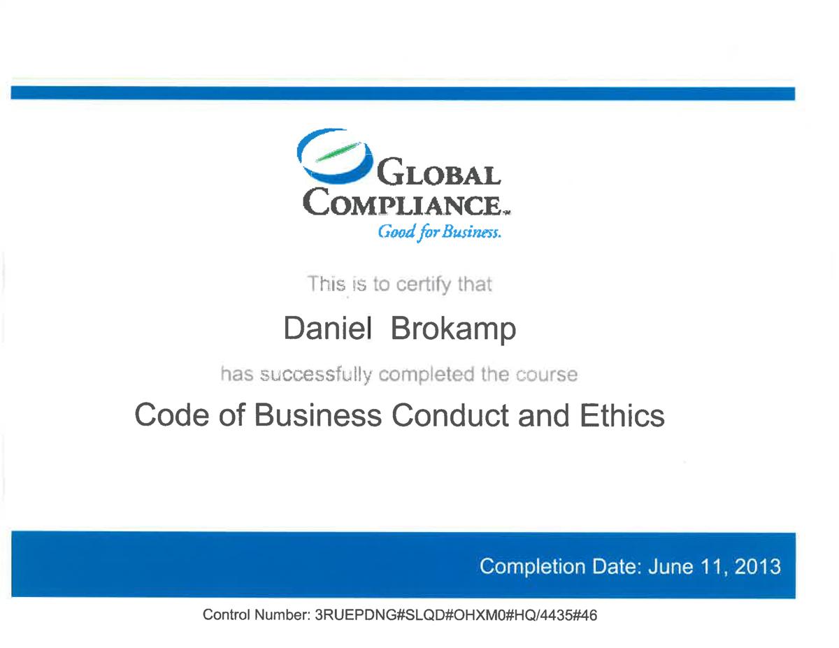 Ethics Training Certification