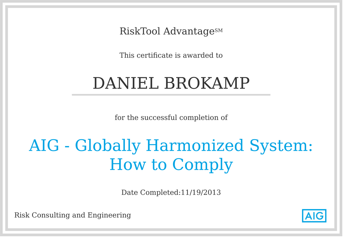 AIG: RiskTool Advantage Global Harmonization System Training